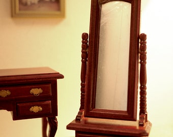 Dollhouse bedroom standup glass mirror dolls house 1 12th scale miniature