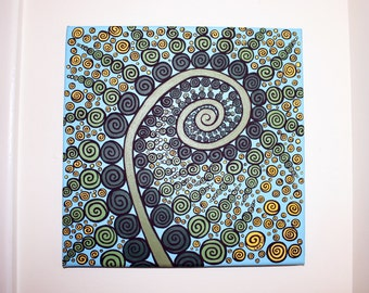 Abstract Fern 2, Original Canvas Wall Art, Home Decor 12x12in. Unframed Canvas Swirl Psychadelic