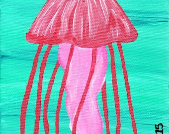 Pink Jellyfish Rising, 4x6in., ORIGINAL Acrylic painting Unframed Canvas, Wall Art, Home Decor, Teal Pink