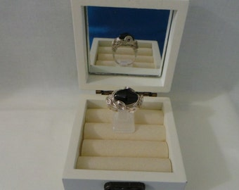 112R...Black Obsidian Ring Wire Wrapped Ring.