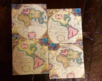 Old World Map Coasters/Vintage World Map Coasters/Handmade Ceramic Tile World Map Coasters