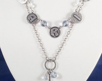 Fun Paris Charm Necklace with Eiffel Tower and AB Beads in Oxidized Silver