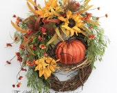 Harvest Fall Wreath, Autumn Door Wreath, Thanksgiving Wreath, Front Door Wreath, Sunflower Wreaths for Fall, Country Decor, Pumpkin Wreath