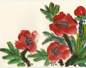 Original Brush Painting Red Poppies Greeting Card