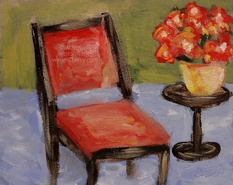 Red Chair Painting, Red Flowers, Still Life, Home Decor, Interior Design, Chair, Table, Original Painting, Original Art, Winjimir, 8x10,