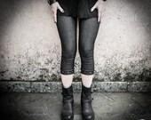 QUOD - Leggings Black Like Denim with Studs Dystopian Goth Fashion Wasteland Post Apocalyptic Punk Rock Edgy