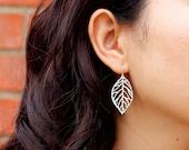 Small Leaf Earrings / Dainty Dangle Leaf Jewelry / Gold or Silver