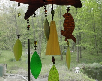 "Stained Glass Wind Chimes, Home Decor, Garden Art, Tree, Bird, Sculpture, ""A Summer Breeze"", Window Hanging, Porch Hanging, Wall Hanging"