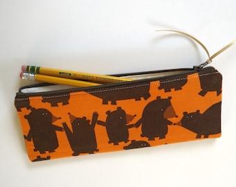 Brown Bears Pencil Case, Cosmetic Bag, Zipper Pouch