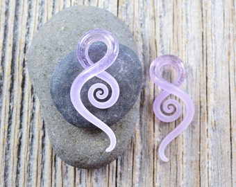 6G | Purple Rain Seaglass | Mini Squids | Gauged Glass Body Jewelry for Stretched Piercings by Glassheart
