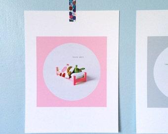 Print: Sick Day - slug felt graphic wall decor art photo digital bed miniature pink green toy blanket