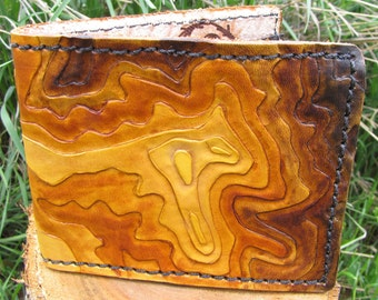 Boulder Colorado Flatirons  Topo Mountain Map - Leather Wallet -