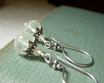 Prehnite Earrings Sterling Silver, Gemstone Rondelle Dangle, Pale Green Earrings, Misty Pale Green Earrings