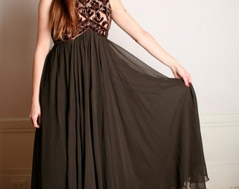 Vintage Maxi Evening Gown - Chocolate Brown Sequin Bodice Dress - Medium