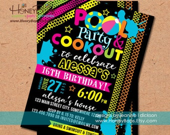 Pool Summer Cookout Birthday or Baby Shower Invitation Blue or Pink - Personalized Digital File Only