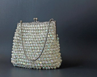 vintage 1920s art deco beaded evening handbag • vintage 20s cocktail bag • iridescent handbag flapper 20s handbag purse