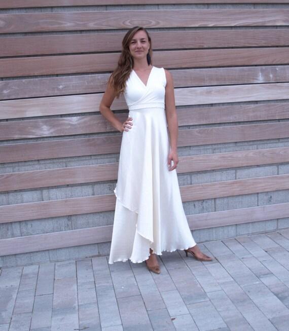 Silk wrap wedding dress with hemp bamboo and organic cotton for Organic cotton wedding dress