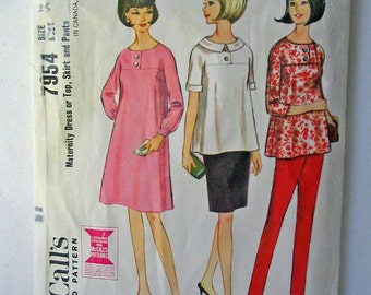 """McCalls 7954 60s A Line Maternity Dress and Top, Sleeves in One with Yoke, Maternity Skirt, Pants vintage Size 14 = modern size 12 bust 34"""""""