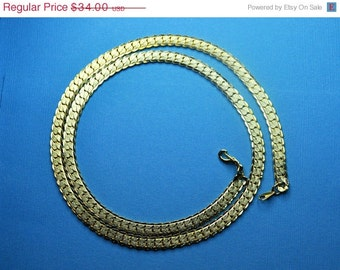 "ON SALE VINTAGE 14Kt Gold Plated Textured Herringbone Gold Chain 24"" Necklace, Classic Beauty!  #A585"