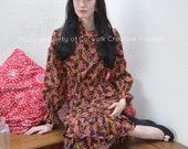 "Vintage Blouse Skirt Suit RETRO FLORALS Danish Design Summer Midi Ruffle Dress by Camilla of Copenhagen 34"" Bust 27"" Waist Size Small UK 10"