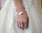 Wedding Bracelet Rose Gold Bridal Bracelet Crystal Pearl Wedding Jewelry Swarovski Rhinestone Ivory Pearl Bracelet Pink Gold LEILA