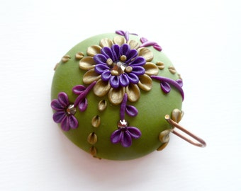Portuguese Knitting Pin, Magnetic Portuguese Knitting Pin, Knitting Hook, Handmade Knitting Pin, Green and Purple