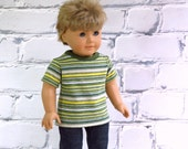 Boy Doll Clothes, 18 inch Boy Doll Striped Tee Shirt, Short Sleeve T Shirt, AG Doll Clothes