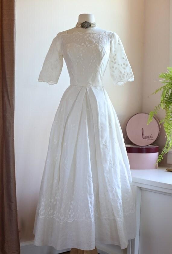 Items similar to vintage 1950 39 s wedding dress vintage for Best etsy wedding dress shops