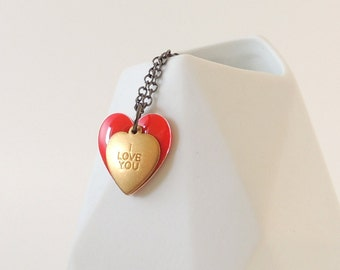 "Red Enamel Love Heart Charm Necklace - ""I Love You"""