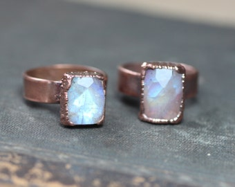 Moonstone Ring Copper Gemstone Ring Electroformed Rainbow Moonstone Ring Rustic Jewelry Size 5 1/2