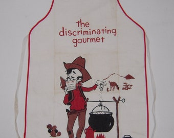 Vintage BBQ Apron Cowboy Salts the Stew MINT