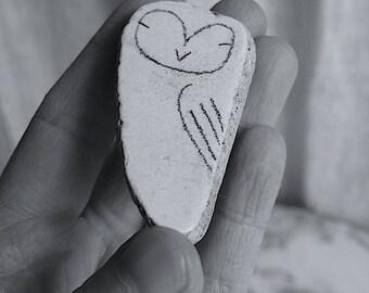 LARGE Beach Pottery Owl - Totem, Animal Medicine, Spirit Animal, Calm, Wisdom, Wise Integrity, Peace