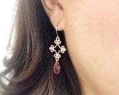ornate rose gold earrings - crystal peach - as seen on the hart of dixie