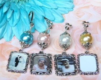 Wedding bouquet photo charm.  Blue, pink, white or gold pearl photo charm. Wedding keepsake. Bridal bouquet charm. Gift for a bride.