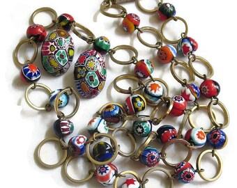 Vintage Multi Color Venetian Millefiore Beads Necklace and Earrings Demi Parure Set