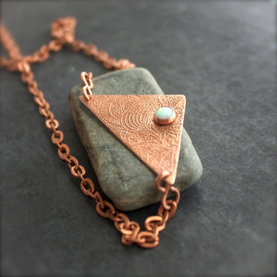 Rocamar Copper And Glass Single Pendant: White Opal Stone Pendant Necklace Etched Copper Metalwork
