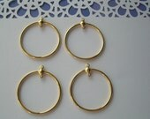 4 Earring Hoops with Extra Loop Gold Plated Brass Findings