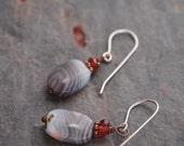 Garnet and Botswana Agate Earrings