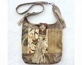 Gypsy Vagabond Boho Bag - Slouchy Hobo Purse ..  vintage needlepoint carpetbag ......  YesterYear Shoulder Bag
