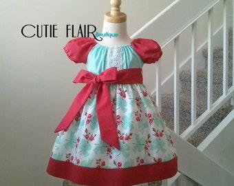 Girls Peasant Dress, Girls Floral Dress, Girls Birthday Dress, Michael Miller Retro Floral Faye Aqua Dress,  Size 2T Ready to Ship!