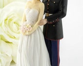 Marine Wedding Cake Topper - Caucasian Bride and Groom - 702230/702220