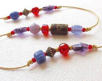 Beaded Windchime: Garden Chime with Blackberry Purple & Raspberry Red Glass Beads. Violet. Crimson. Antiqued Gold Beads. Flower. Brass Bell
