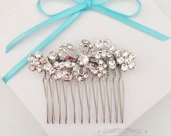 SALE Silver Hair Comb with Floral Rhinestone Swirl Design, Wedding Hair Comb, Rhinestone Hair Comb, Wedding Accessory, Bridesmaid