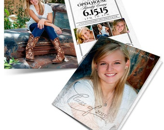 Senior Girl Graduation Announcement - A TOUCH Of CLASS - 5x7 Folded Card - Digital Photoshop Templates for Photographers & Scrapbookers.