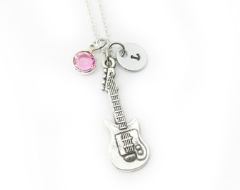 Electric Guitar Necklace - Guitar necklace, Handstamped Initial, Personalized Name, Customized crystal birthstone