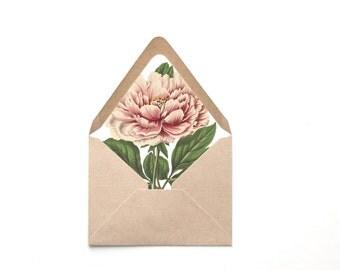 Envelope Liner Template, Blush Pink Peony Botanical Liner, Multiple Sizes, Instant Download