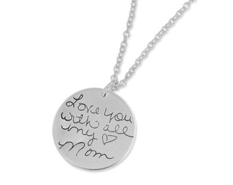 """Personalized handwriting necklace - Signature Pendant - Custom engraved necklace - 7/8"""" round sterling silver pendant"""