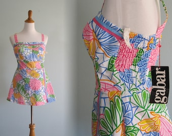Vintage Pastel Pop Art Floral Romper - 60s Colorful Cotton Playsuit by Gabar - Vintage 1960s Romper M nos nwt