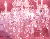 Pink Chandelier Photography, Pink Sparkling Crystal Chandelier Art Photo, Dreamy Pink Chandelier Print, Shabby Chic Decor, Chandelier Photos