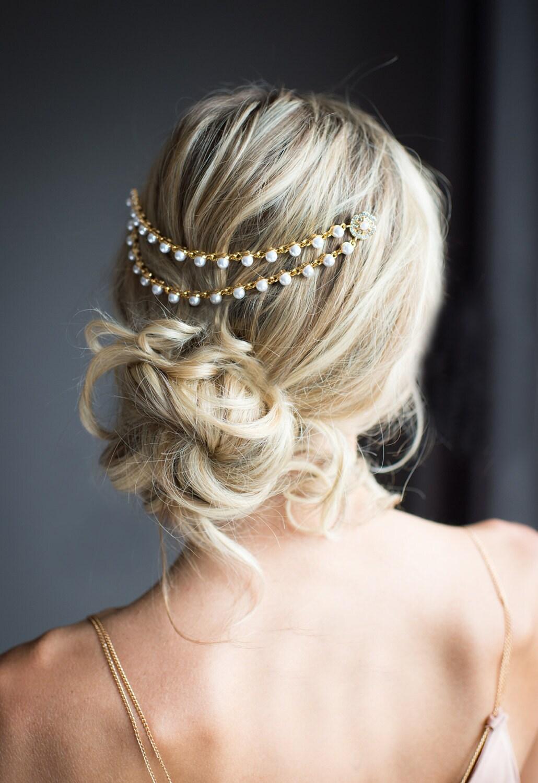 Gold Pearl Bridal Hair Chain Wedding Hair Wrap By